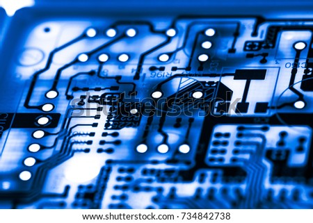 Abstract,close up of Circuits Electronic on Mainboard computer Technology background. (logic board,cpu motherboard,Main board,system board,mobo) #734842738