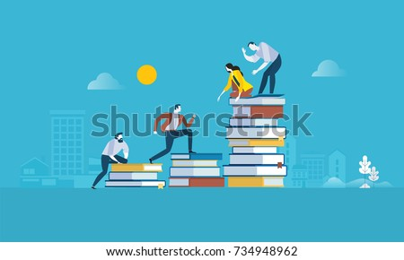 Flat design style web banner for the path to success, levels of education, staff training, specialization, learning support. Vector illustration concept for web design, marketing, and print material. Royalty-Free Stock Photo #734948962