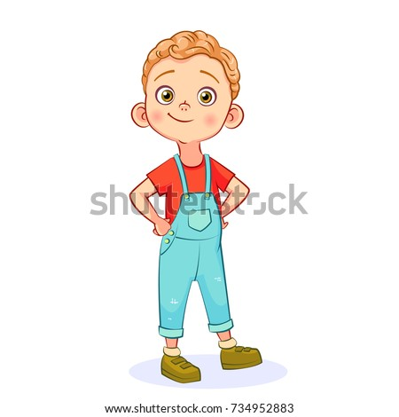 Vector cartoon funny little boy isolated on white background. The self-confident boy is standing with his hands in the sides. Royalty-Free Stock Photo #734952883