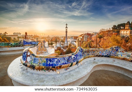 View of Barcelona from the park at sunrise #734963035