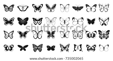 Butterfly icon set. Simple set of butterfly vector icons for web design isolated on white background
