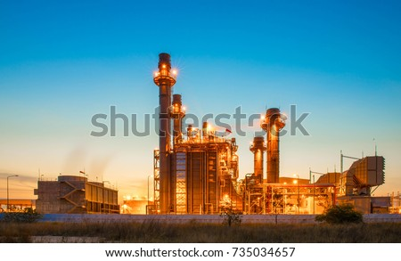 Glow light of petrochemical industry on sunset and Twilight sky ,Power plant,Energy power station area #735034657
