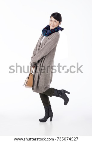 Japanese woman in winter clothes #735074527