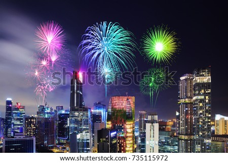 beautiful firework over cityscape view of Singapore city at night #735115972