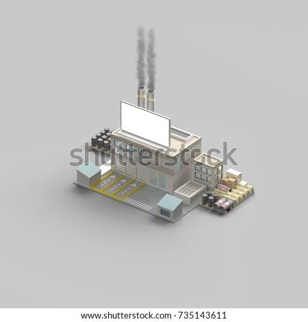 industrial building. energy. factory. 3D rendering #735143611