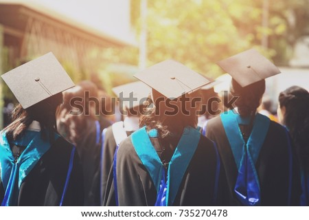 shot of graduation hats during commencement success graduates of the university, Concept education congratulation. Graduation Ceremony ,Congratulated the graduates in University during commencement. Royalty-Free Stock Photo #735270478