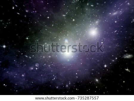 Stars of a planet and galaxy in a free space Elements of this image furnished by NASA #735287557