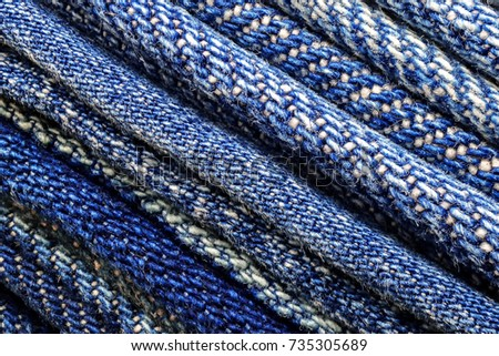 Close up abstract background denim fabric texture arrange diagonal line #735305689