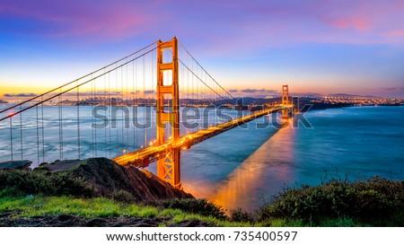 Golden Gate Bridge in San Francisco, California USA at sunrise #735400597