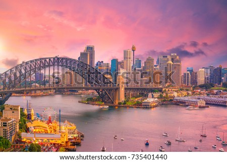Downtown Sydney skyline in Australia at twilight #735401440