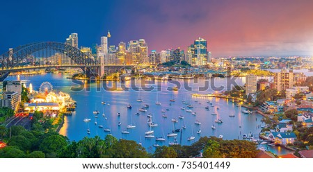 Downtown Sydney skyline in Australia at twilight #735401449