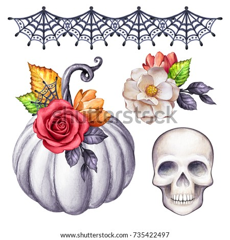 watercolor Halloween illustration, thanksgiving set, floral pumpkin, skull, autumn design elements, fall, holiday clip art isolated on white background