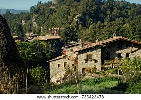 mountain village called Rupit, located in Catalonia, Spain #735423478