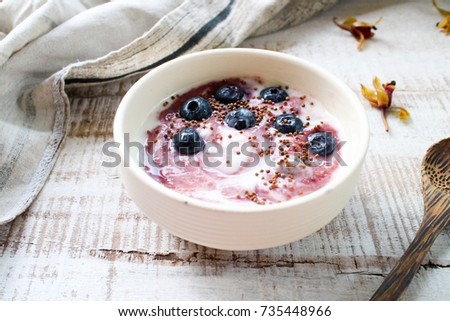 Acai Greek Yogurt topped with Blueberries and Bee pollen. #735448966