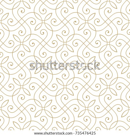Intersecting curved elegant fine lines and scrolls forming abstract floral ornament. Seamless pattern for background, wallpaper, textile printing, packaging, wrapper, etc.