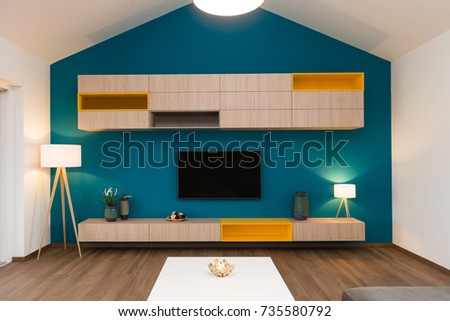 Contemporary living-room interior #735580792