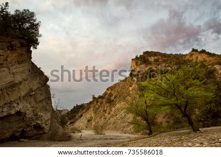 The landscapes of the canyon of Pantishara. Vashlovani protected areas in Georgia. #735586018