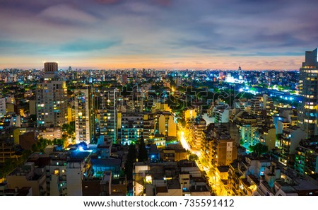 BUENOS AIRES, ARGENTINA â?? SEPTEMBER 7: Panoramic view over the city at night on September 7, 2016 in Buenos Aires, Argentina. #735591412
