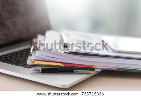 Businessman working reading documents graph financial to job succes Analyze document plans Royalty-Free Stock Photo #735715336