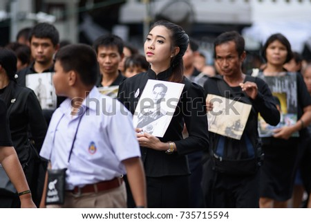 BANGKOK,THAILAND-DEC5,2016:The death of Thai beloved king rama9 on 13 October,2016 makes the people being in mourning. #735715594