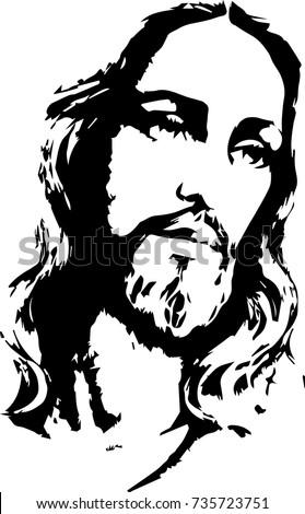 Black and white vector illustration of jesus christ