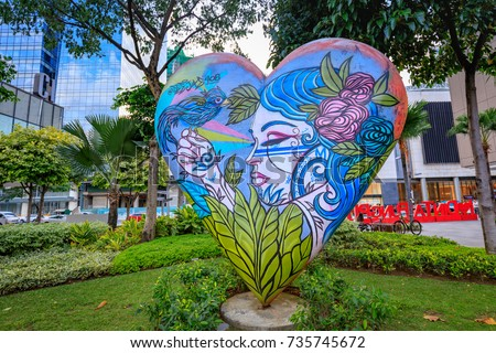 Street art of High street at Bonifacio Global City on Sep 1, 2017 in Taguig, Metro Manila, Philippines #735745672