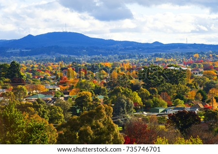 Orange NSW. Australia Situated 260km from Sydney in central west NSW, famous for Apples and vineyards at the feet of mount Canobolas a spent volcano. Royalty-Free Stock Photo #735746701