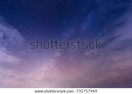 Landscape with gradient blue purple Milky way galaxy. Night sky with stars. #735757969