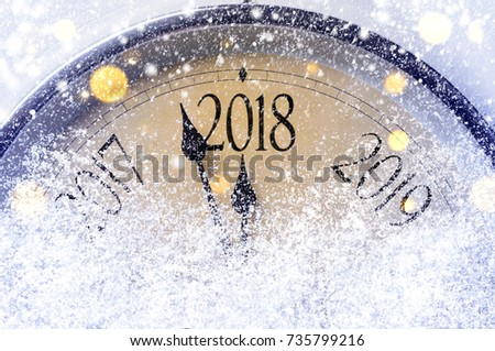 Countdown to midnight. Retro style clock counting last moments before Christmas or New Year 2018. #735799216