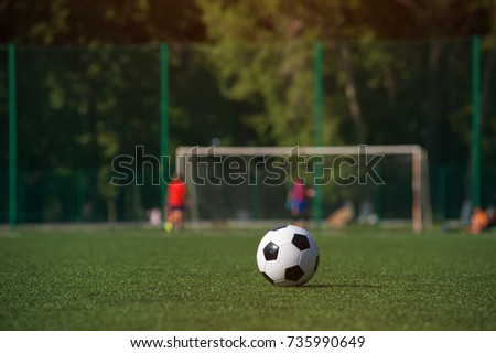 Traditional black and white soccer ball on green grass playground. Football game, Outdoors activity, summer sunny day. #735990649