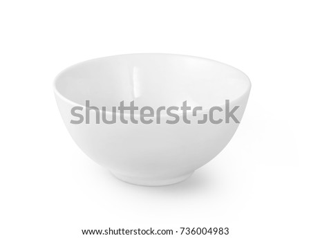White ceramic bowl isolated on white background with clipping path #736004983