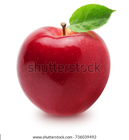 Isolated apple. Whole red, pink apple fruit with leaf isolated on white, with clipping path Royalty-Free Stock Photo #736039492