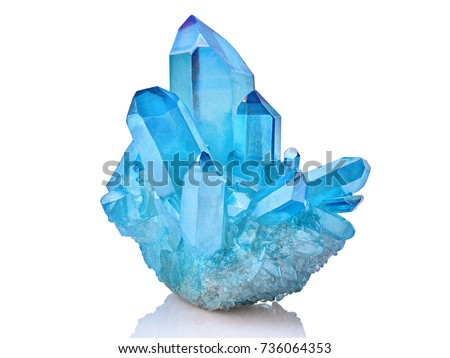Amazing colorful Quartz Rainbow Flame Blue Aqua Aura crystal cluster closeup macro isolated on white background #736064353
