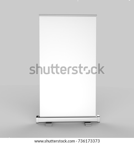 """White blank empty high resolution Business 3""""6"""" Roll Up and  Standee Banner display mock up Template for your Design Presentation. 3d render illustration. #736173373"""