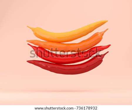 Creative Concept : Overlap red peppers floating on pinks pastel background. used for Illustrations or graphic design and website. minimal concept. #736178932