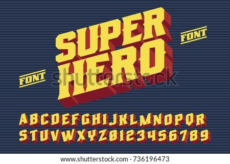 SuperHero font. 3D vintage alphabet letters. Vector retro illustration