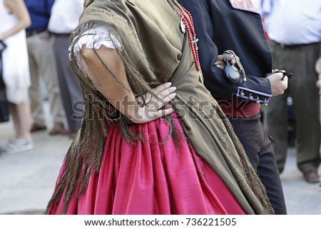 Detail of one of the folk costume of Valencia (Spain) #736221505