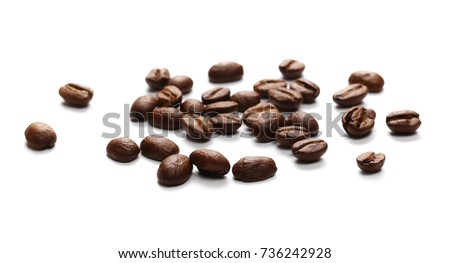 Pile coffee beans isolated on white background and texture, top view  #736242928