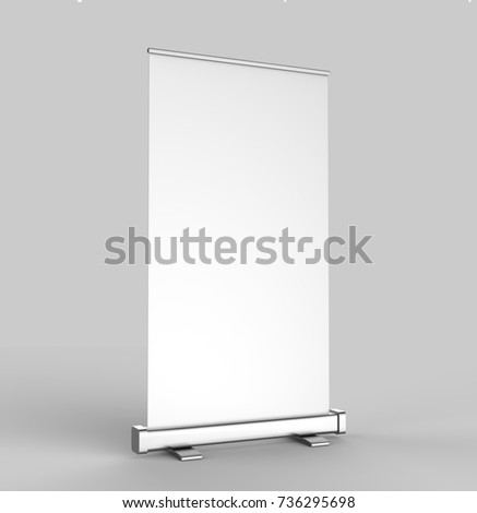 """White blank empty high resolution Business 3""""6"""" Roll Up and  Standee Banner display mock up Template for your Design Presentation. 3d render illustration. #736295698"""