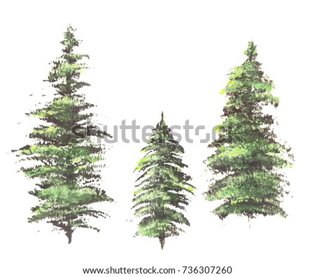 Hand drawn acrylic vibrant pine green trees isolated on white background. #736307260