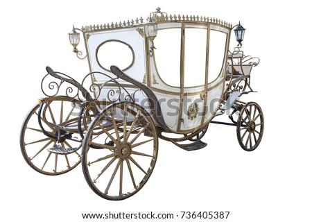white carriage isolated on white background Royalty-Free Stock Photo #736405387