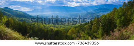 Blue Ridge Mountains Smoky Mountain National Park wide horizon landscape background layered hills and valleys large format pano #736439356