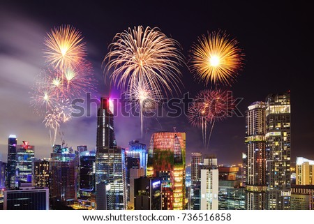 beautiful firework over cityscape view of Singapore city at night #736516858
