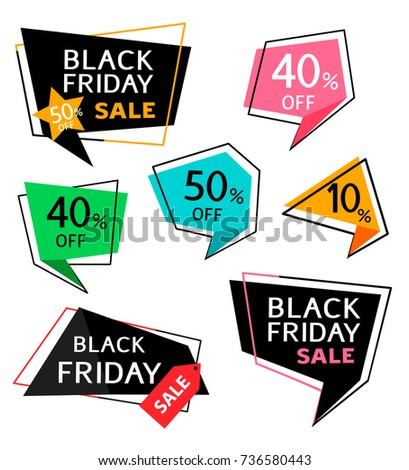 Set of discount sticker and price tag for black friday sale design. Vector illustration #736580443