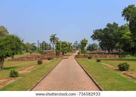 Shravasti, Uttar Pradesh, India - 16 October 2014: Ancient  Jetavana monastery. Lord Buddha's major temple. #736582933