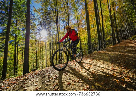 Cycling, mountain bikeing woman on cycle trail in autumn forest. Mountain biking in autumn landscape forest. Woman cycling MTB flow uphill trail. #736632736