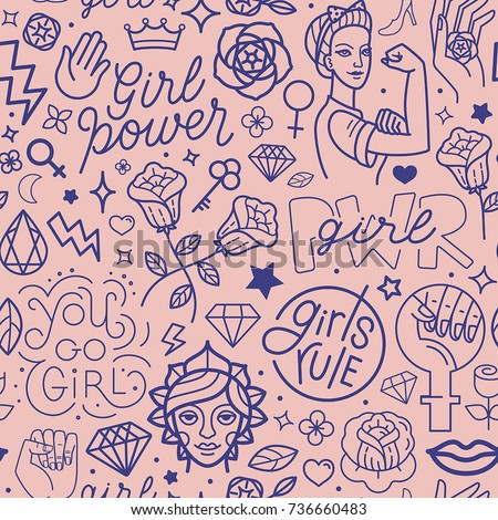 Vector seamless pattern with icon and hand-lettering phrases related to girl power and feminist movement - abstract background for prints, t-shirts, cards Royalty-Free Stock Photo #736660483