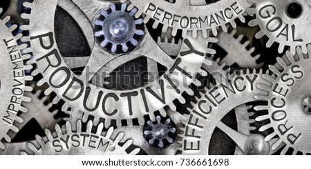 Macro photo of tooth wheel mechanism with PRODUCTIVITY, EFFICIENCY, PROCESS, GOAL, SYSTEM, PERFORMANCE and IMPROVEMENT concept words Royalty-Free Stock Photo #736661698