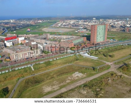 Aerial view Almere Poort, The Netherlands.  #736666531