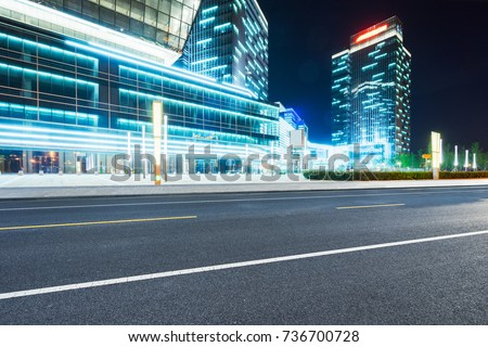 empty road with modern buildings on background,shanghai,china. #736700728